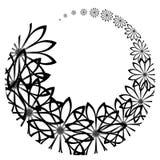 Rounded black flowers stock illustration