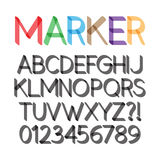 Rounded Bold Marker Pen Font and Numbers Royalty Free Stock Photography