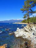 Rounded Boulders at Lake Tahoe Nevada State Park, Nevada. Beautiful early winter day on the shores of crystal clear Lake Tahoe in the Sierra Nevada with its royalty free stock image