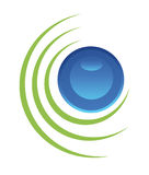 Rounded button. Green and blue button black-framed 3-dimensional Stock Photography