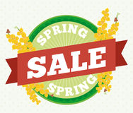 Rounded Button, Ribbon and Orchids for Spring Sales, Vector Illustration Stock Image