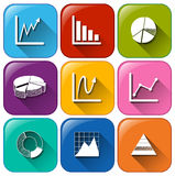 Rounded buttons with the different graphs Royalty Free Stock Photography