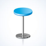 Rounded chair. Vector illustration. Big lap disk shape vivid cyan color stylish 3d barstool stand on one solid shiny stem foot on white backdrop. Pub club trendy Stock Image