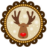 Rounded christmas tags with cute reindeer Stock Photo