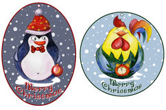 Rounded christmas tags with funny penguin and rooster. Watercolor painting. Stock Photo