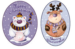 Rounded christmas tags with funny polar bear and caribou. Rounded christmas tags with funny polar bear and caribou wearing purple scarfs with golden details Royalty Free Stock Images
