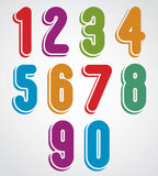Rounded colorful numbers with white outline. Stock Photos