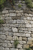 The rounded corner of an old wall from the limestone, twined pla Stock Photo