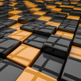 Rounded cubes 3D background. Black and yellow rounded cubes 3D background vector illustration
