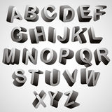 Rounded 3d font. Rounded 3d font, monochrome vector symbols alphabet Royalty Free Stock Photo