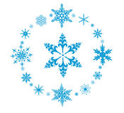 Rounded  decorative snowflakes Stock Photography