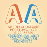 Rounded Downwards Isometric Alphabet and Digit Vec Stock Image