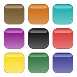 Rounded edge square buttons stock photos