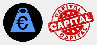 Vector Euro Mass Icon and Scratched Capital Stamp. Rounded euro mass icon and Capital seal stamp. Red rounded scratched stamp with Capital text. Blue euro mass royalty free illustration