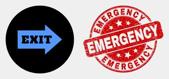 Vector Exit Arrow Icon and Grunge Emergency Stamp Seal vector illustration