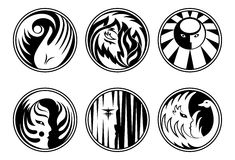 Rounded fantasy icons Royalty Free Stock Images