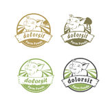 Rounded Farm food logo with happy pig Royalty Free Stock Images