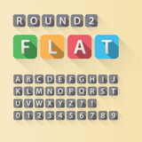 Rounded Flat Font and Numbers in Rounded Square. Eps 10 Vector, Editable for any Background, No Clipping Mask Royalty Free Stock Photo