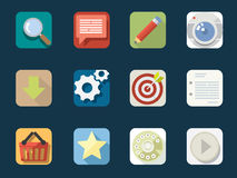 Rounded  Flat Icons Stock Photography