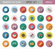 Rounded flat sport icons. Layered vector set of 35 high-quality flat icons Royalty Free Stock Images