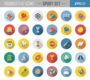 Rounded flat sport icons Stock Images