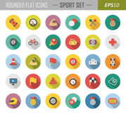 Rounded flat sport icons Stock Photography