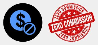 Vector Forbidden Dollar Icon and Distress Zero Commission Watermark. Rounded forbidden dollar pictogram and Zero Commission stamp. Red rounded scratched seal stock illustration