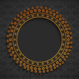 Rounded frame with floral decoration. Stock Image