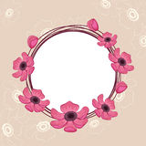 Rounded frame with flowry decoration. Stock Photography