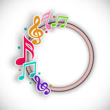 Rounded frame with musical notes. Royalty Free Stock Photos