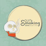 Rounded frame with skull for No Smoking Day. Royalty Free Stock Photography