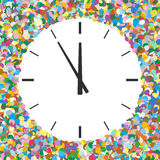 Rounded Free Text Area Formed of Colourful Confetti with Clock. Symbol - New Year Greeting Card - Five Before Twelve - Dots, Polka Dots, Points vector illustration
