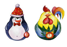 Rounded funny penguin and rooster with golden Christmas details Stock Photos
