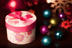 Rounded Gift Box Christmas. With ornaments Royalty Free Stock Photos