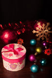 Rounded Gift Box Christmas. With ornaments Stock Image