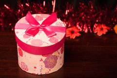 Rounded Gift Box Christmas. With ornaments Stock Images