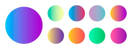 Rounded holographic gradient sphere button. Multicolor green purple yellow orange pink cyan fluid circle gradients stock illustration