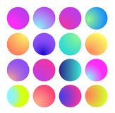 Rounded holographic gradient sphere. Multicolor green purple yellow orange pink cyan fluid circle gradients, colorful vector illustration