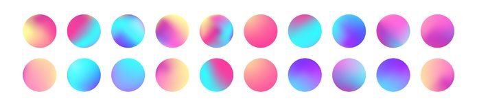 Rounded holographic gradient sphere set. Gradient colorful sphere in trendy style. Multicolor round buttons or vivid vector illustration