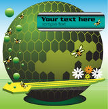 Rounded honeycomb. Abstract colorful illustration with spherical honeycomb, bees, green bubbles and small flowers Royalty Free Stock Images