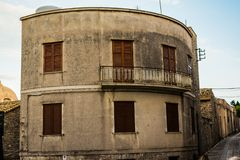 Rounded house building in Erice, Sicily, Italy. royalty free stock photo