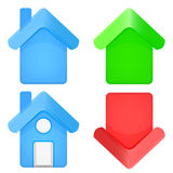 Rounded house 3D icon set isolated Royalty Free Stock Photos