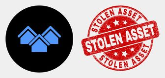 Vector Houses Icon and Scratched Stolen Asset Stamp. Rounded houses icon and Stolen Asset seal. Red rounded textured seal with Stolen Asset text. Blue houses stock illustration