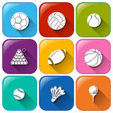 Rounded icons with the different balls Stock Image