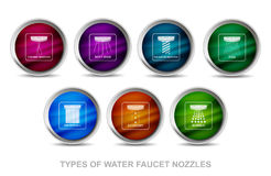 Rounded icons of types of water faucet nozzles Stock Photo