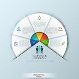 Rounded infographic design layout with 5 sectoral elements connected. With center, features of successful teamwork. Project management concept. Vector Royalty Free Stock Images