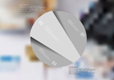Rounded infographic template with object randomy divided to three parts. Illustration infographic template with rounded motif, randomly divided to three grey Stock Images
