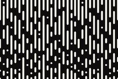 Rounded lines seamless pattern. Black and white background with abstract dynamic round stripes and circles. Vector. Rounded lines seamless pattern. Black and Stock Photo