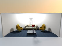Rounded living space-3d rendering Stock Photo