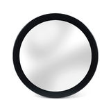 Rounded mirror in black frame - isolated on white Royalty Free Stock Photo